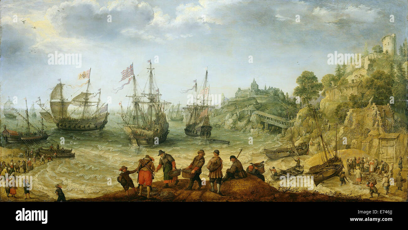 Ships at a rocky coast - by Adam Willaerts, 1621 - Stock Image