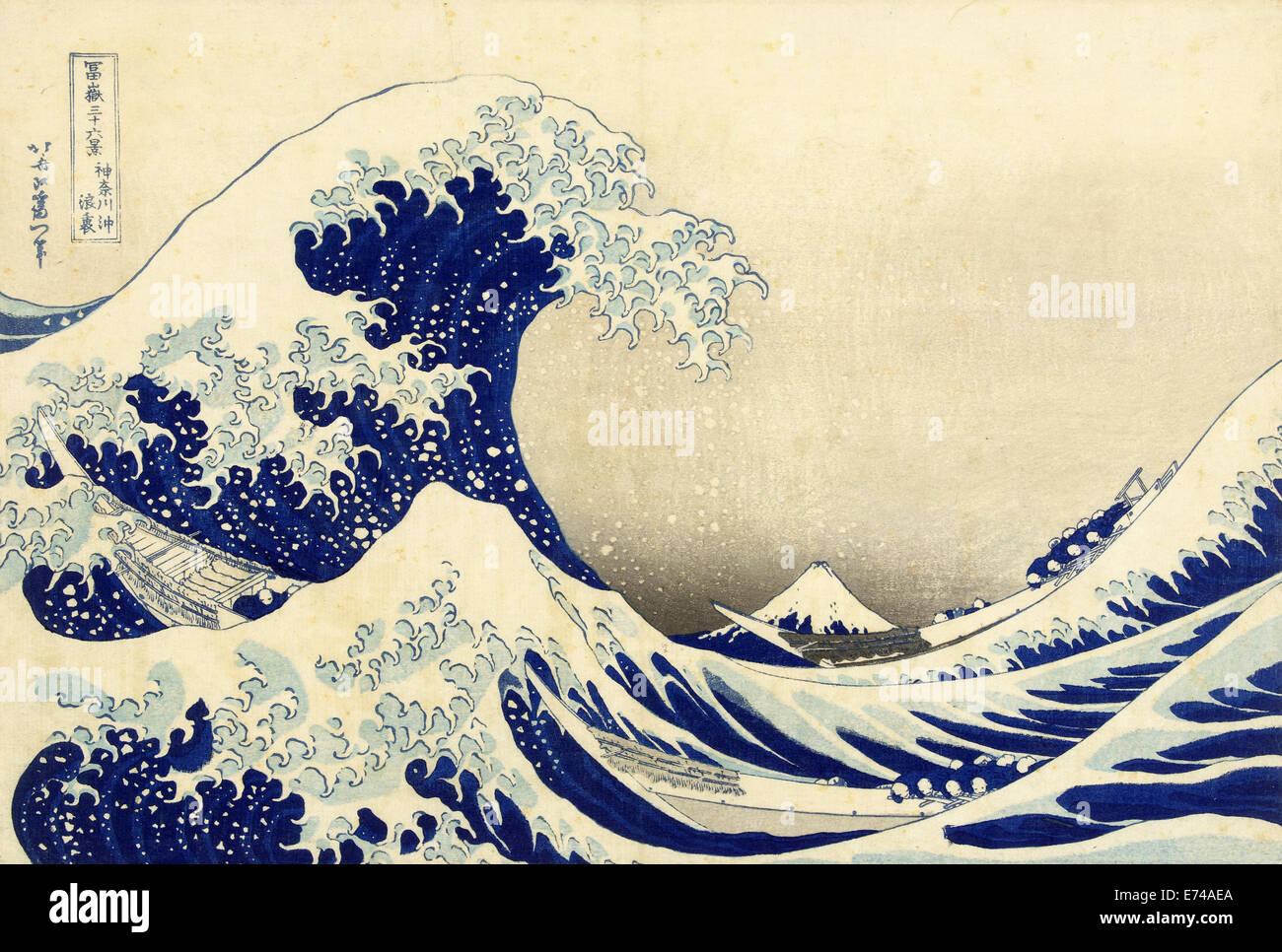 The Great Wave off Kanagawa - by Katsushika Hokusai, 1829 - 1833 Stock Photo