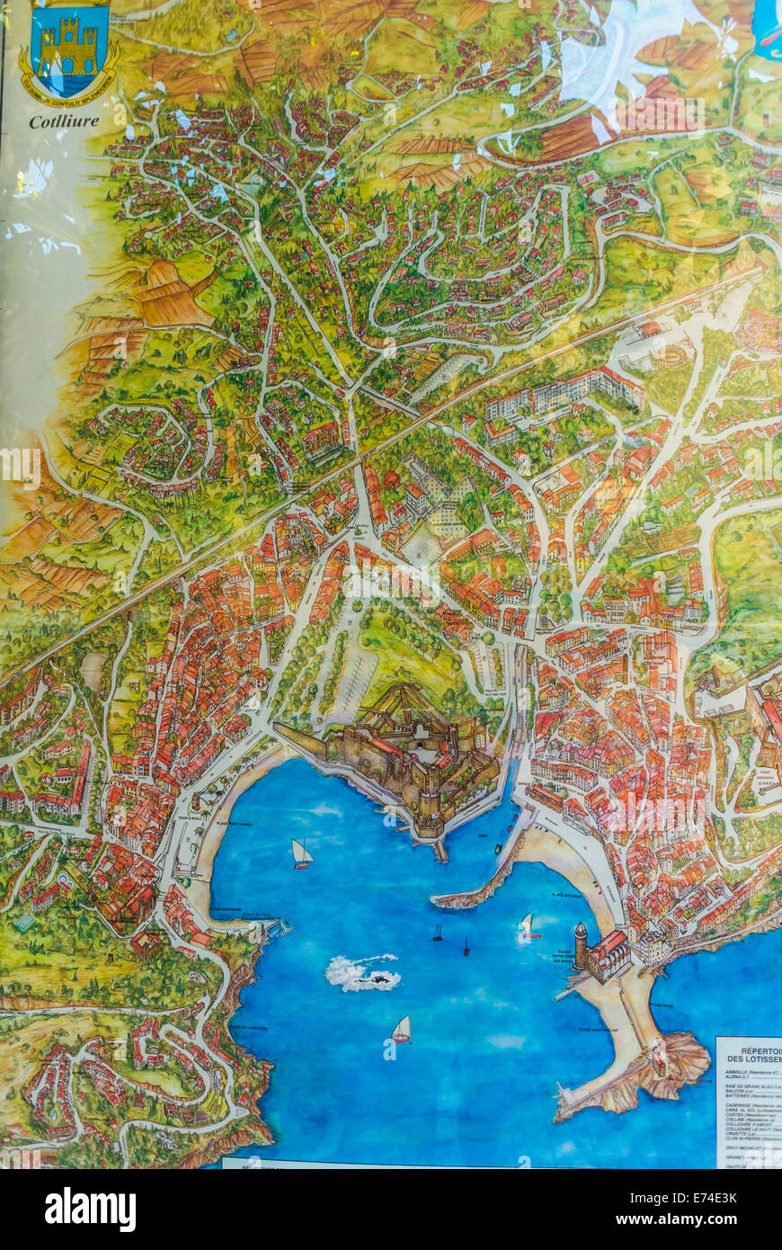 Collioure France Old French Map of Seaside Village near Perpignan