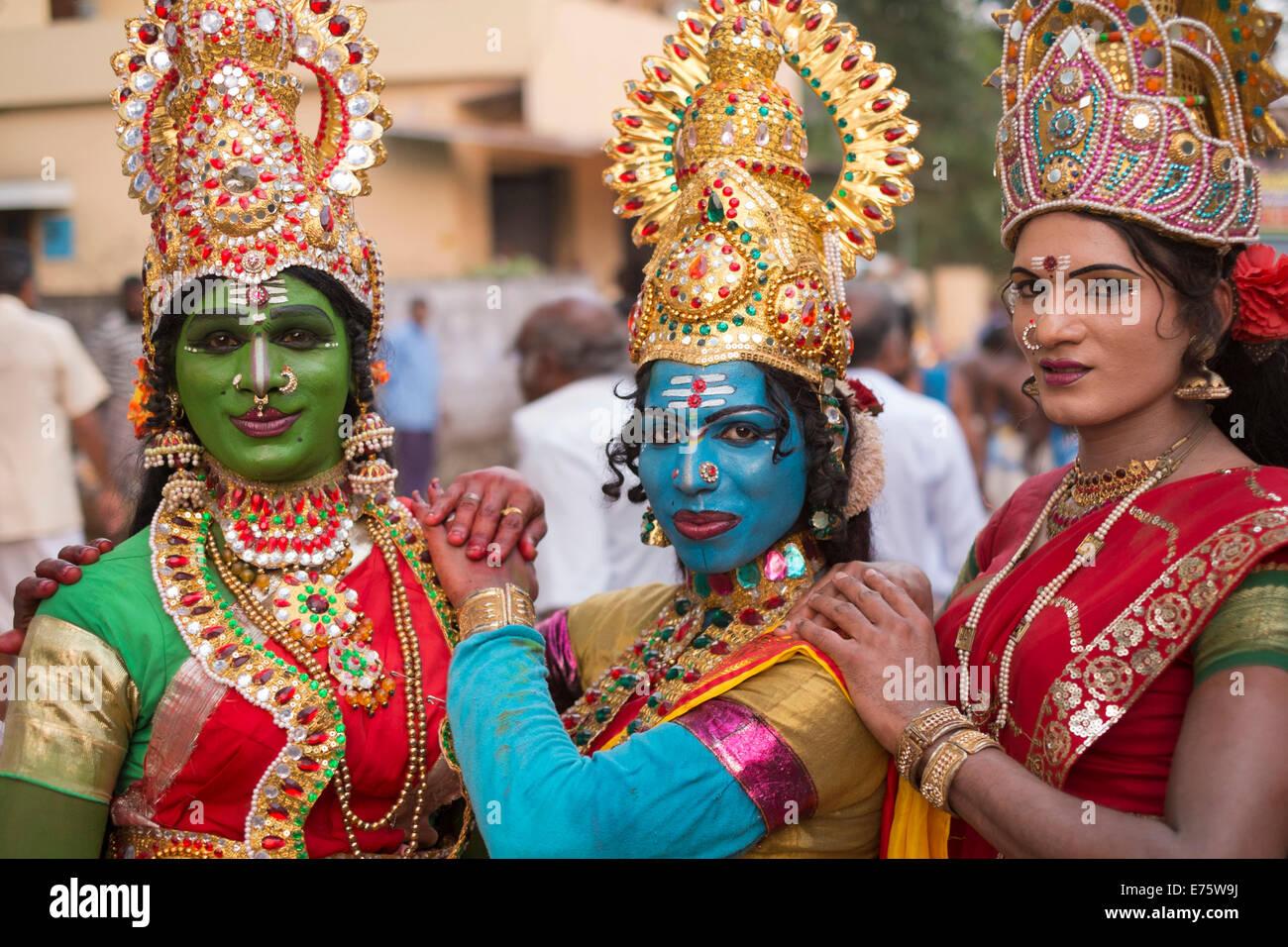Hindu temple dancers wearing makeup and gold jewelry Varkala Stock