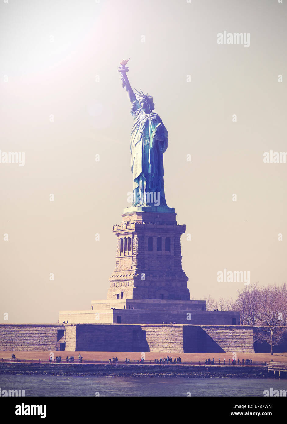 Vintage picture of Statue of Liberty, NYC, USA. - Stock Image