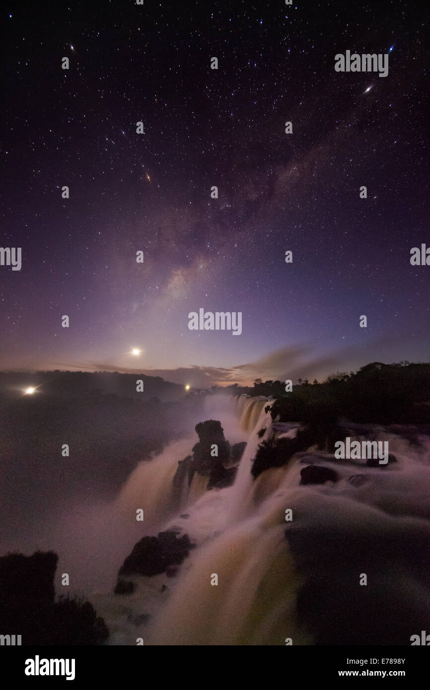 the night sky over Iguazu Falls, Argentina - Stock Image