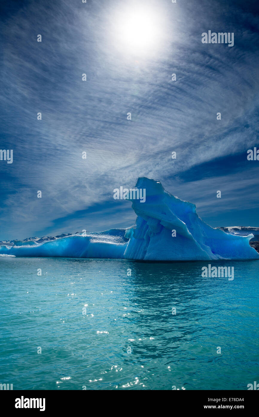 icebergs in Lago Argentino at the foot of the Upsala Glacier, Patagonia, Argentina - Stock Image