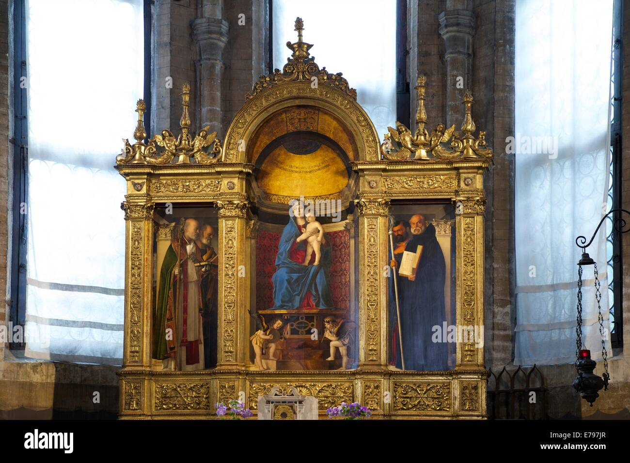 Frari Triptych, by Giovanni Bellini, 1488, Church of Santa Maria Gloriosa dei Frari, Venice, Italy, Europe Stock Photo