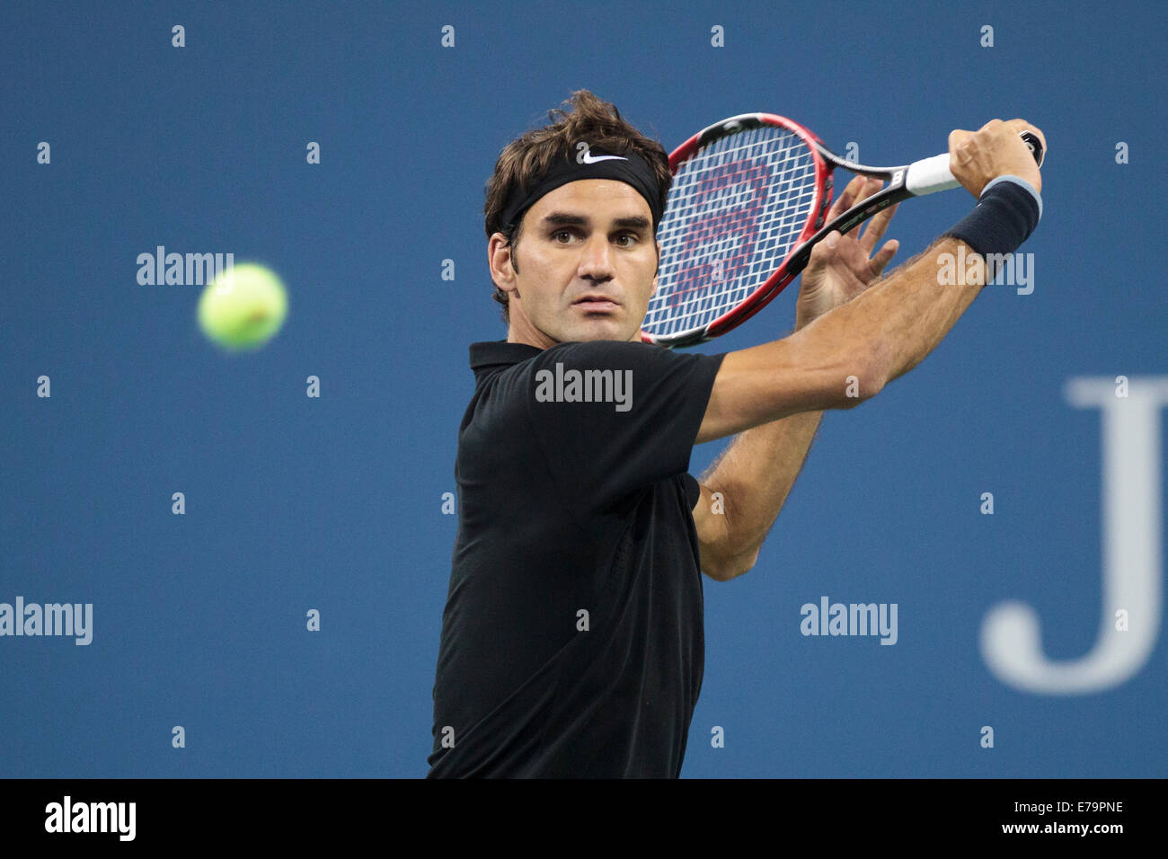 Flushing Meadows, NY, USA. 29th Aug, 2014. Roger Federer (SUI) in second round action at the US Open Tennis Championships. - Stock Image