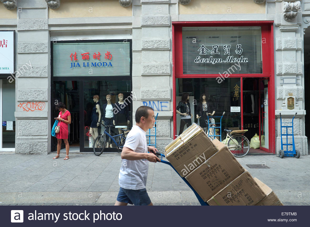 Street scene in the Chinatown area of Milan city, in Lombardy, Italy. Stock Photo