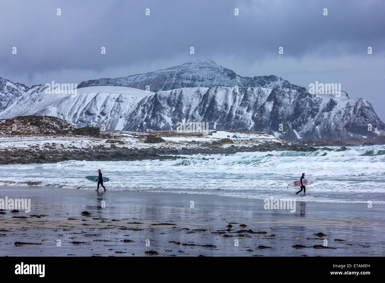 Winter surfers at the Lofoten islands - Stock Image
