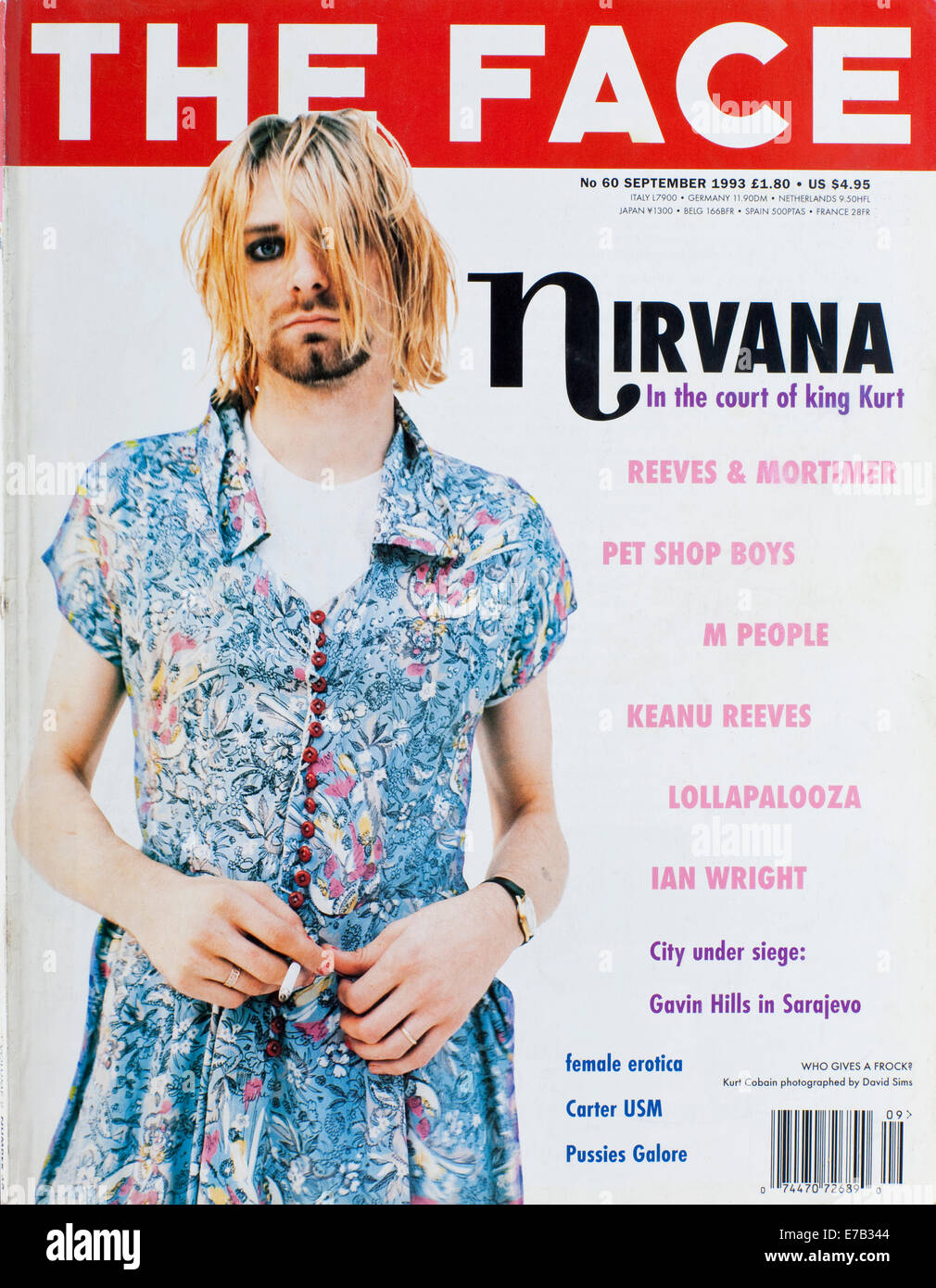 The Face Magazine, September 1993 -Kurt Cobain Stock Photo