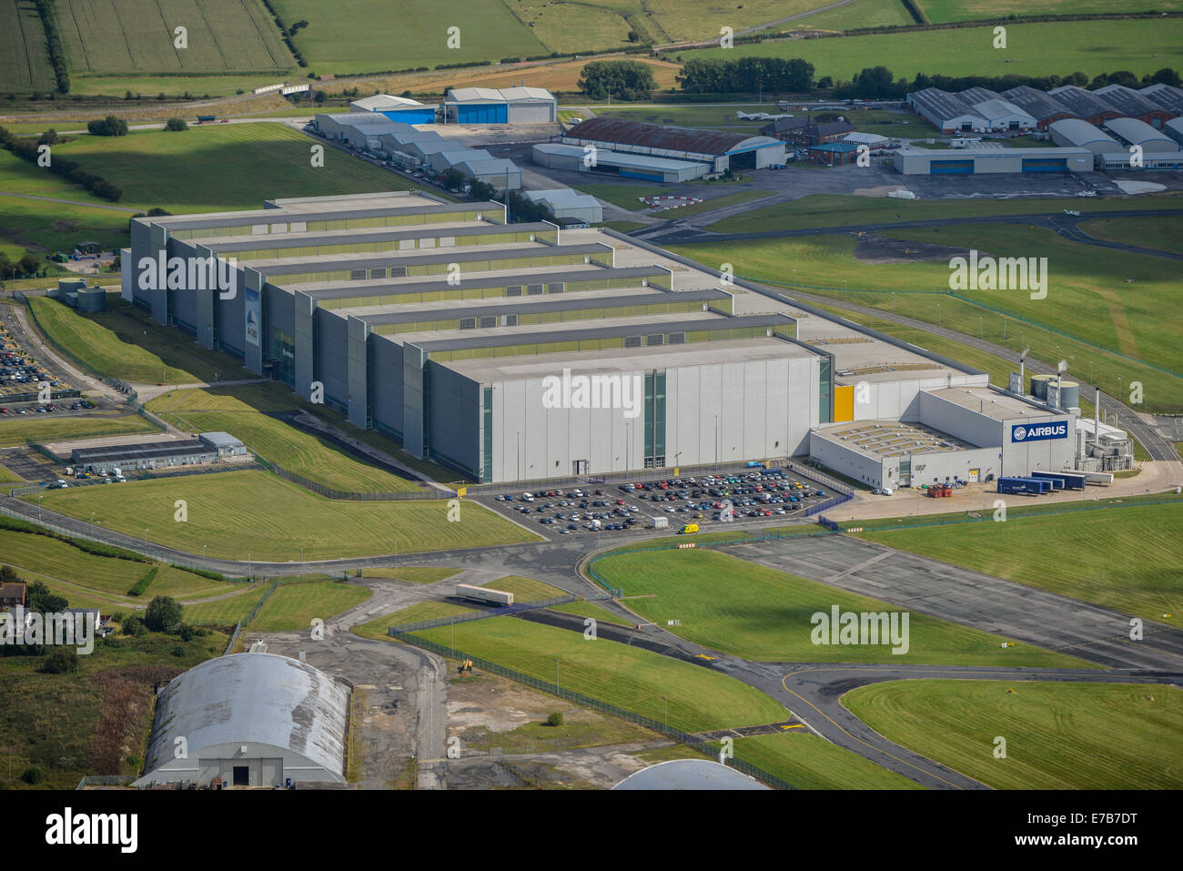 An aerial view showing the Airbus factory at Hawarden Airport, Cheshire UK - Stock Image