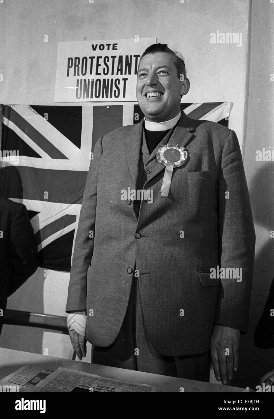Belfast 1969-02-22 Ian Paisley at press conference before local elections in Northern Ireland.Stock Photo