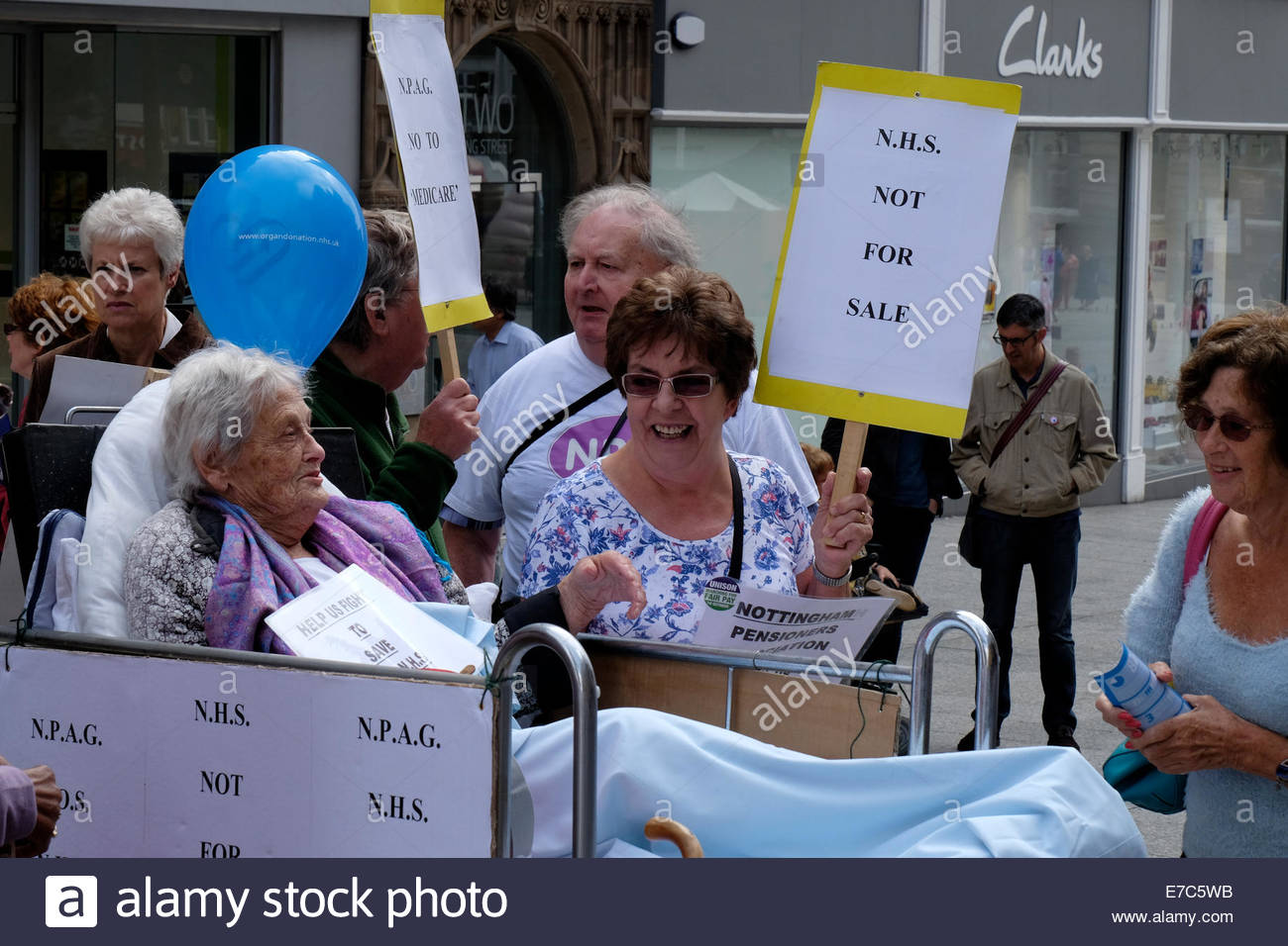 Nottingham, UK. 13th Sep, 2014. Demonstration by Nottingham Pensioners Action Group against cuts and privatisation Stock Photo