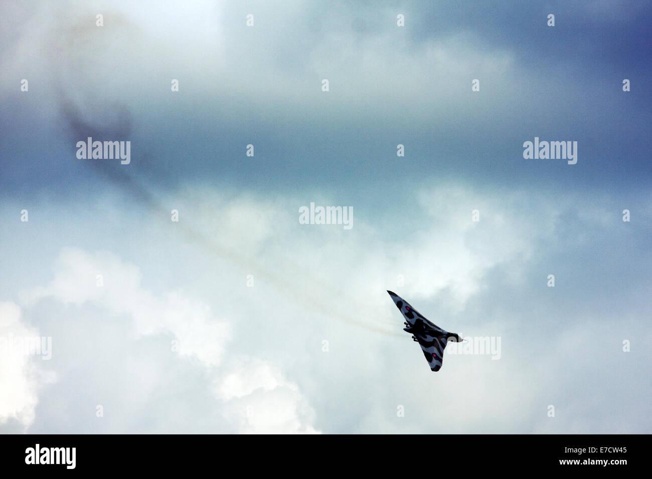 Avro 698 Vulcan B2  strategic bomber display at Farnborough International Airshow 2014 - Stock Image