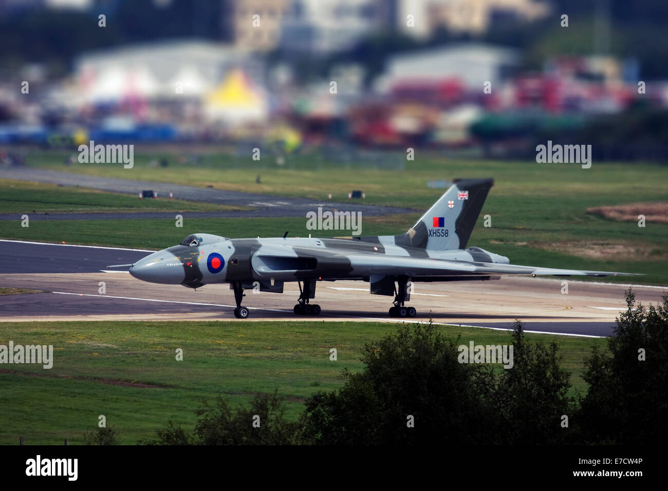 Avro 698 Vulcan B2  strategic bomber at Farnborough International Airshow 2014 - Stock Image