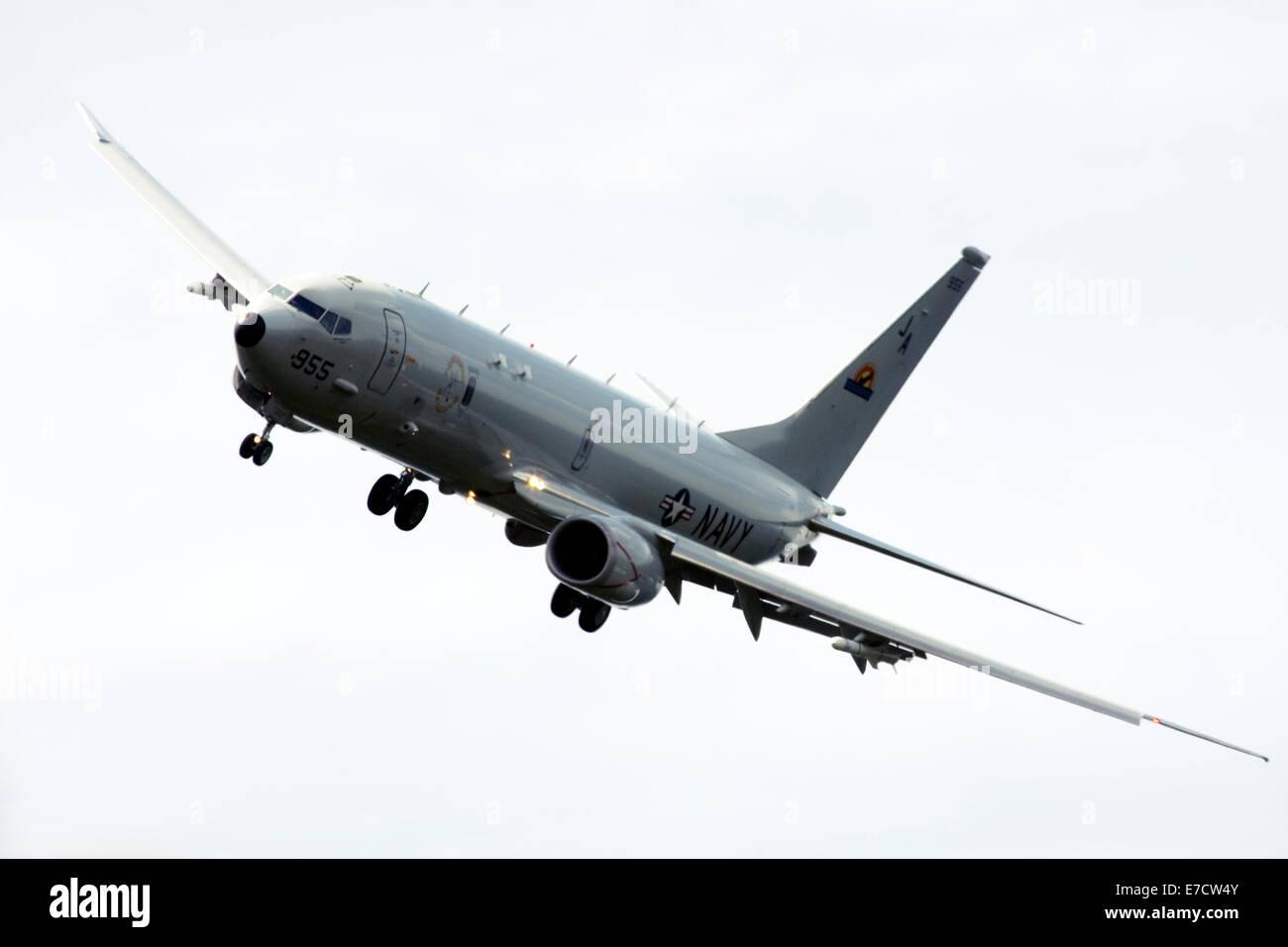 USA Navy Boeing P-8A Poseidon military aircraft at Farnborough International Airshow 2014 - Stock Image