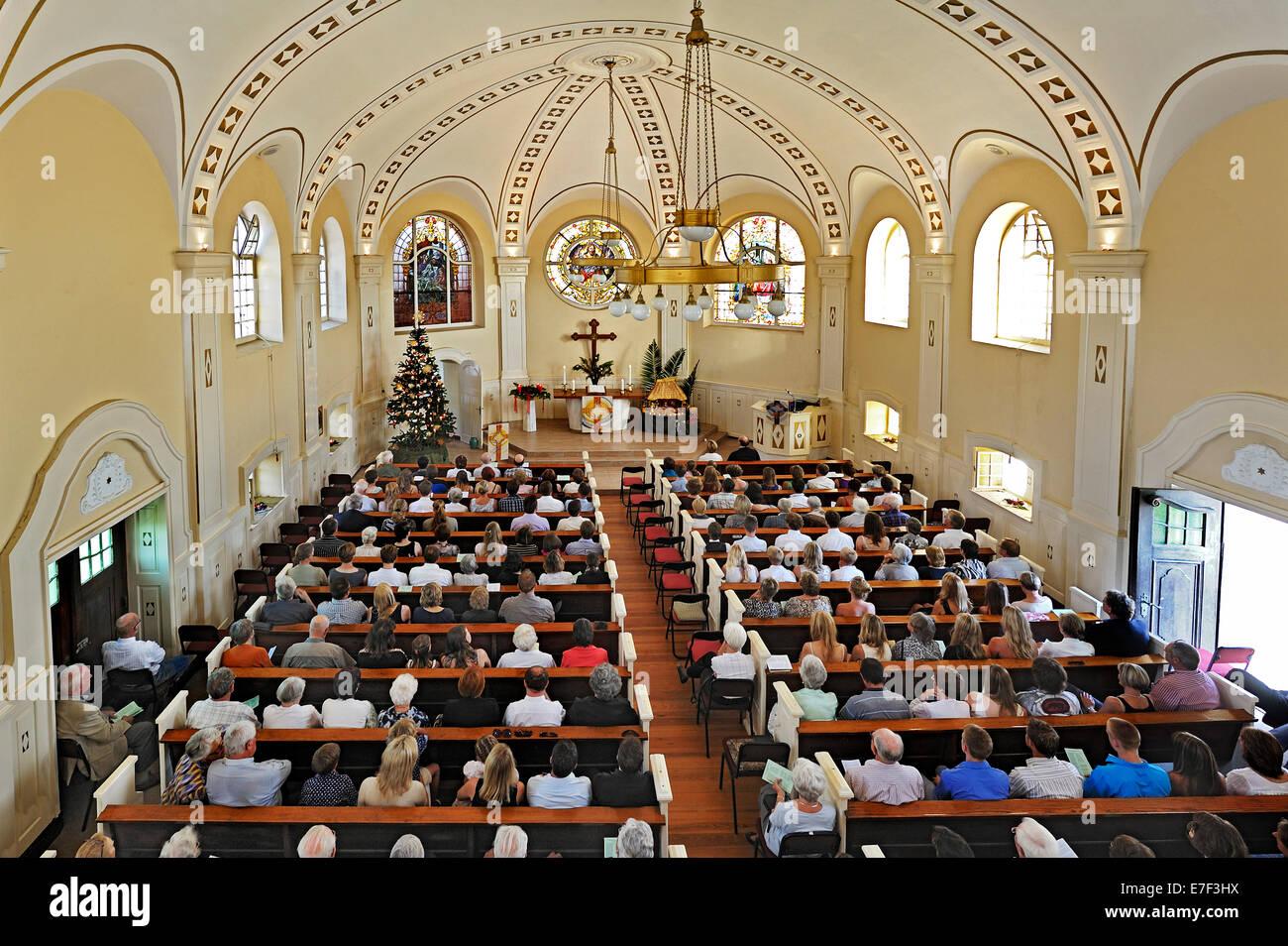 Christmas Mass, Evangelical Lutheran Church, Swakopmund, Namibia - Stock Image