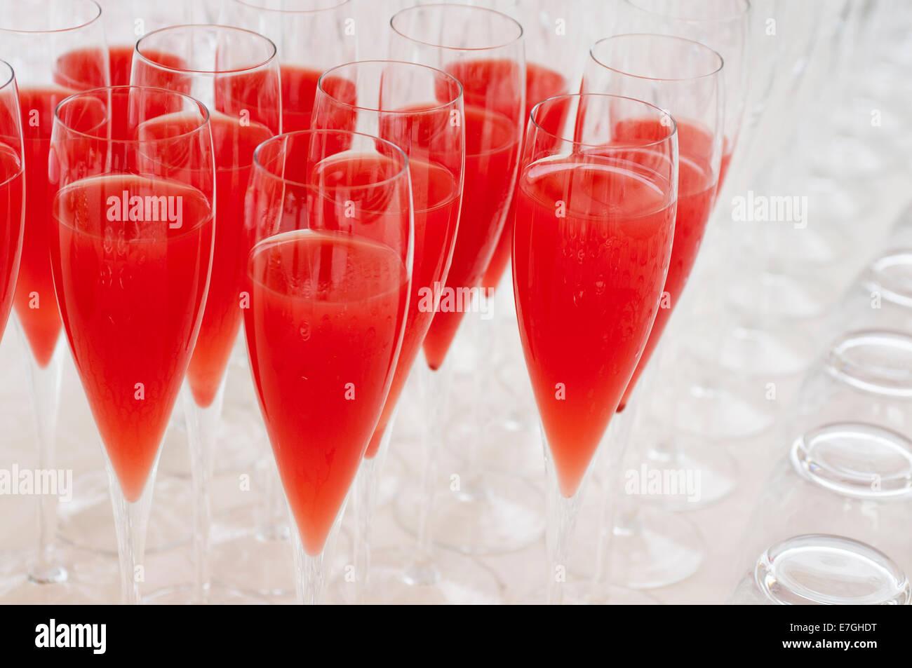 stemware for non-alcoholic aperitif on tray - Stock Image