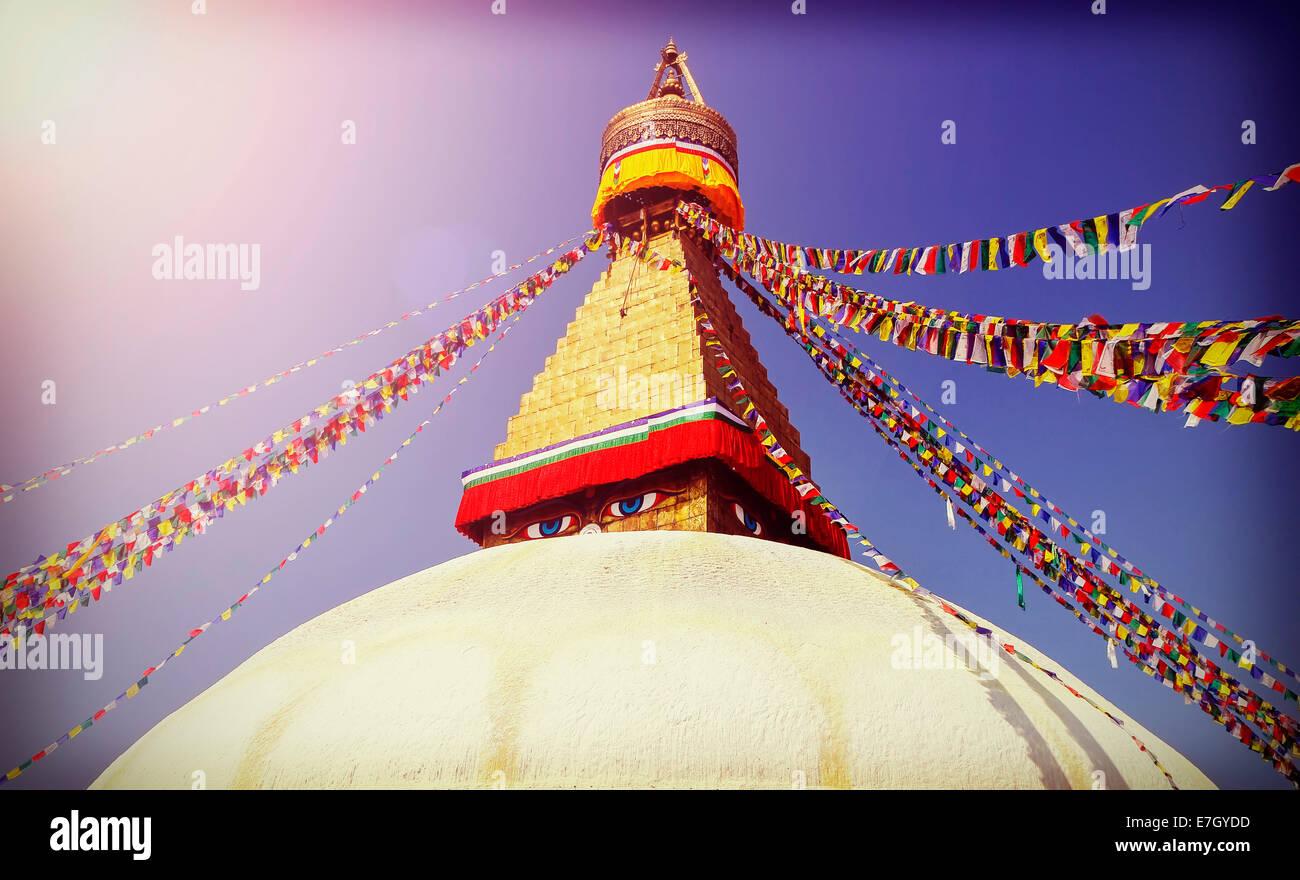 Vintage filtered picture of Boudhanath Stupa, symbol of Kathmandu, Nepal - Stock Image