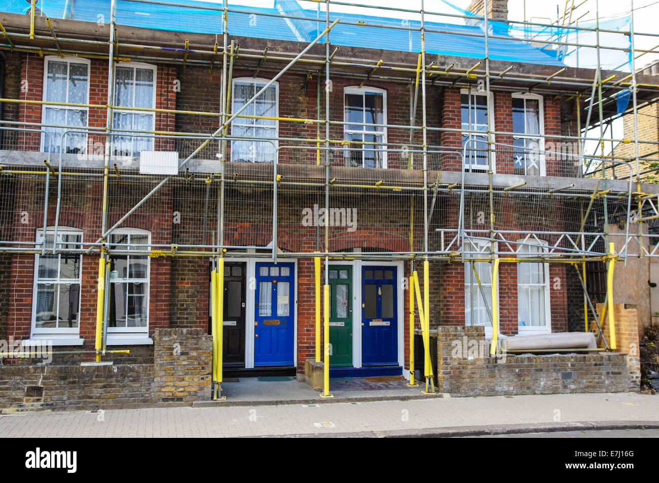 Scaffolding on the house, London England United Kingdom UK Stock Photo
