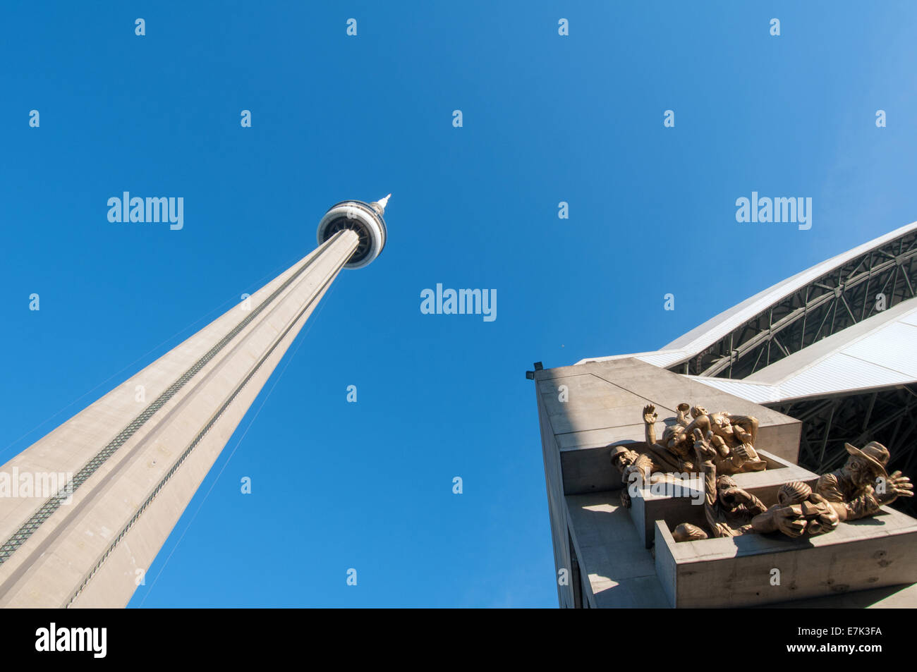 CN tower and Rogers Centre downtown Toronto - Stock Image