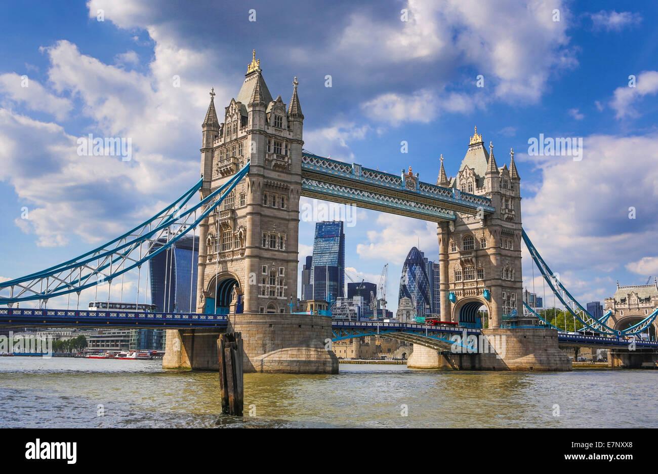 City, London, England, UK, architecture, bridge, famous, skyline, Thames, river, tourism, travel, Tower Bridge, - Stock Image