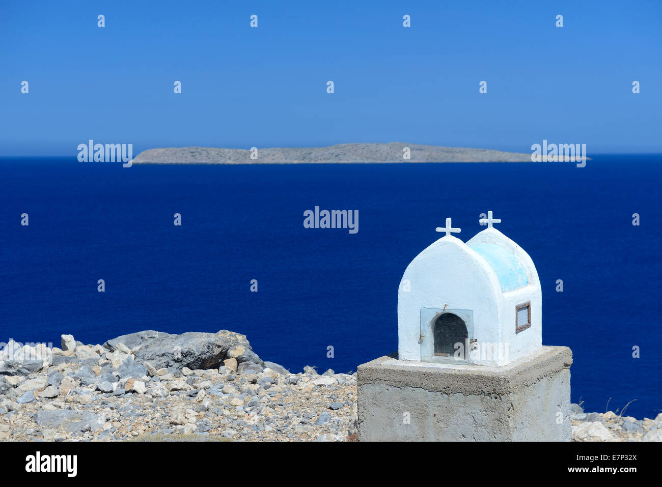 Europe, Greece, Greek, Crete, Mediterranean, island, Itanos, Beach, church, religion, sea, white, - Stock Image