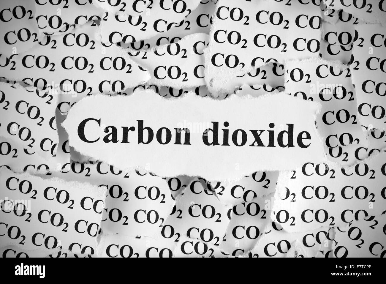 Torn pieces of paper with the word 'Carbon Dioxide'. Black and White. Close-up. - Stock Image
