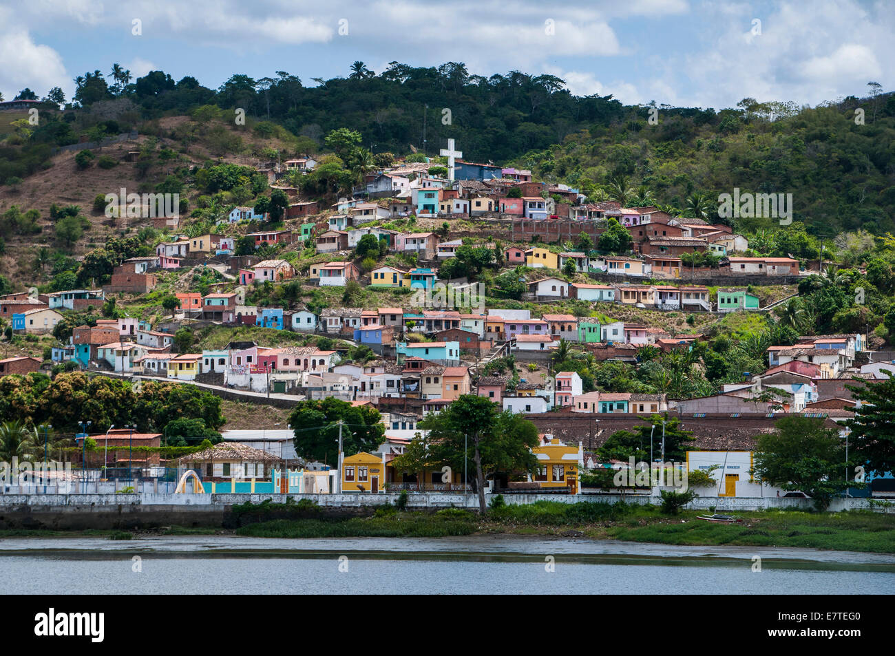 Townscape with colourful houses, Cachoeira, Bahia, Brazil - Stock Image