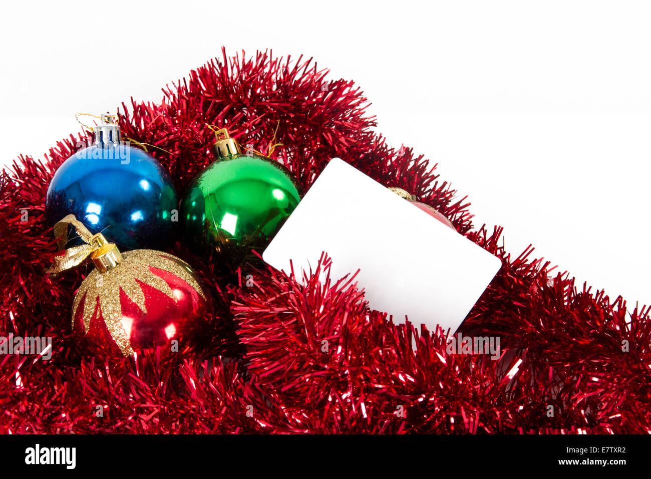 Christmas Ornaments And Blank Greeting Card For Your Message Stock