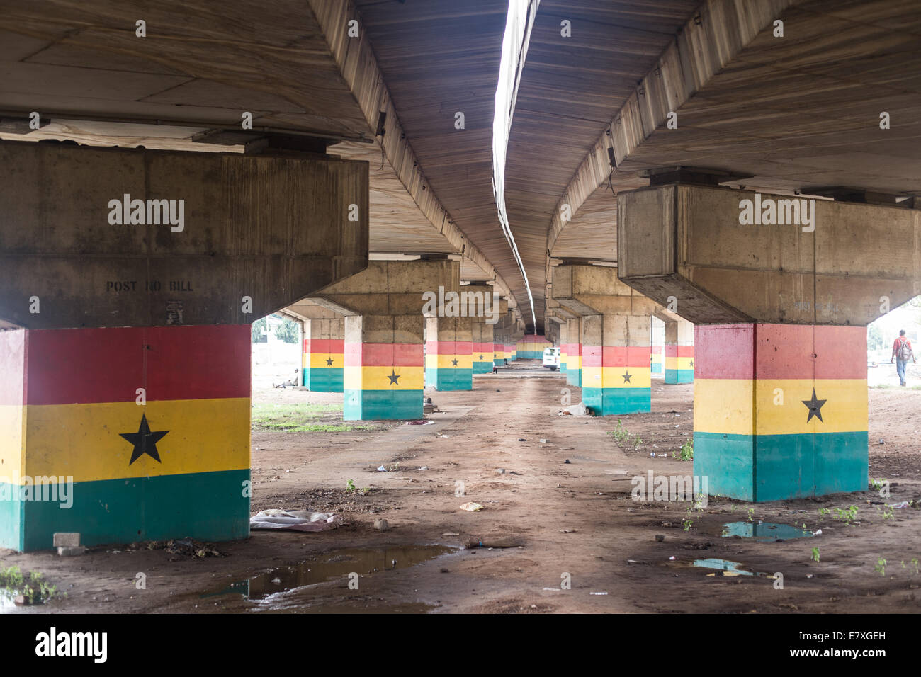 underneath the new flyover with ghana flags - Stock Image