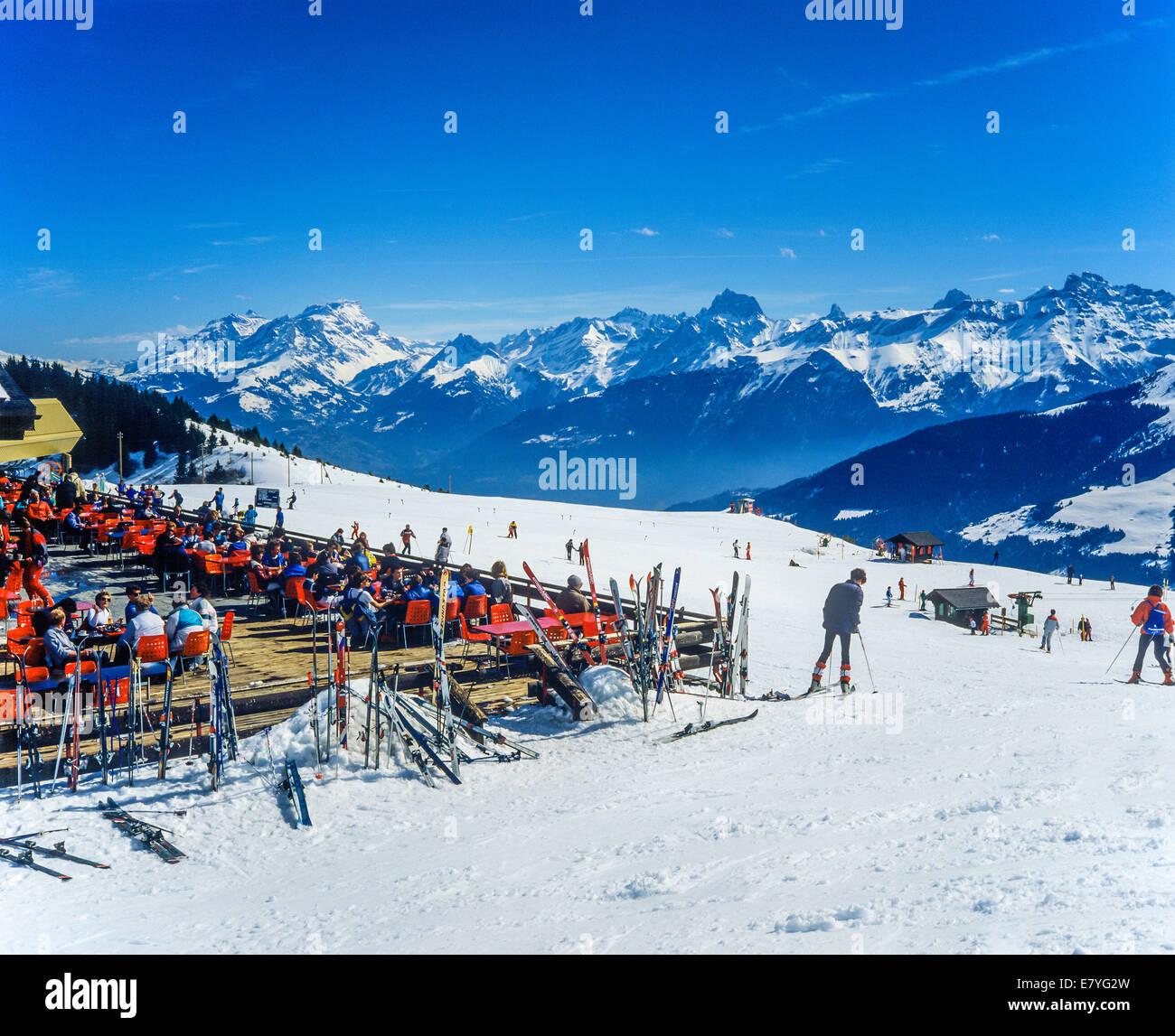 mountain restaurant morgins ski resort swiss alps valais switzerland