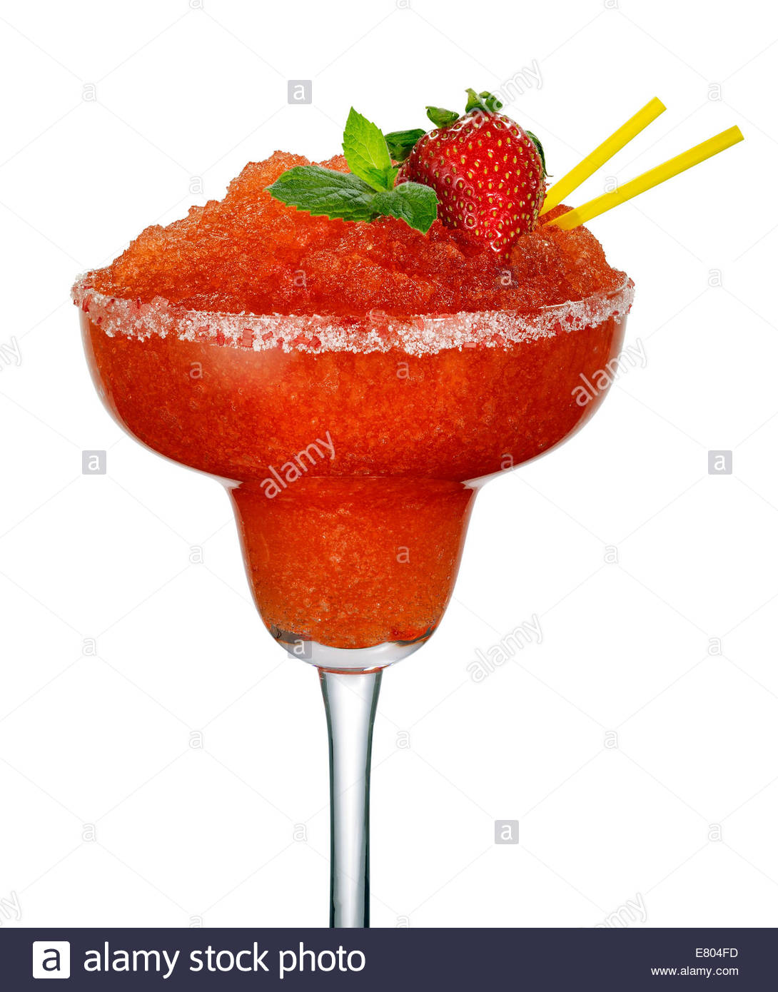 strawberry daiquiri or cocktail on white background - Stock Image