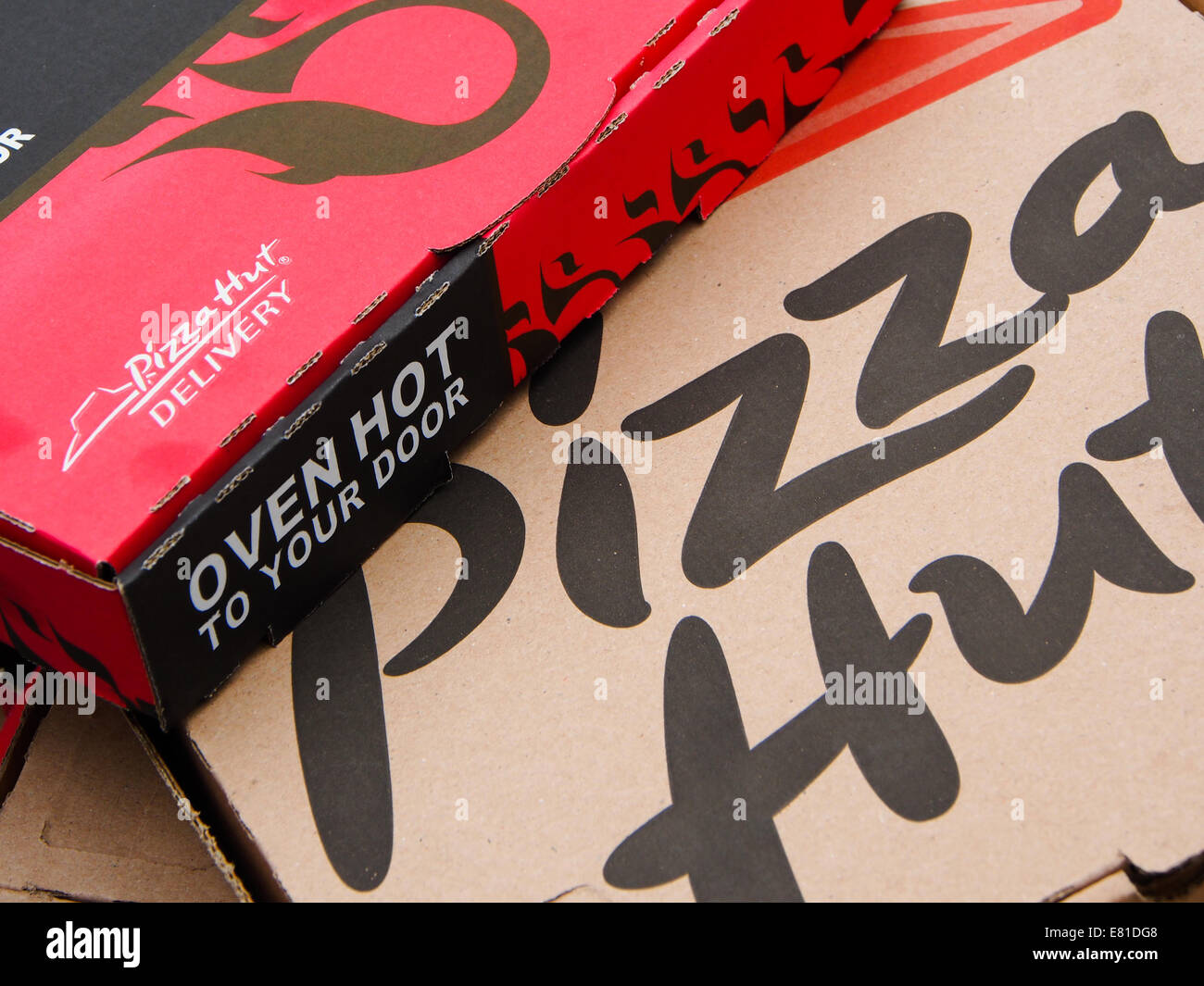 Close up of Pizza Hut takeaway boxes Stock Photo