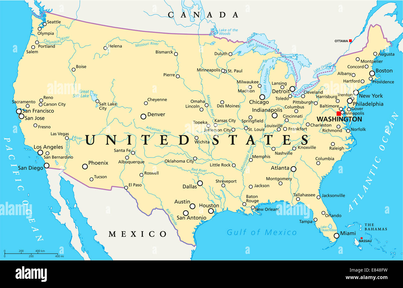 United States of America Political Map Stock Photo: 73853245 - Alamy