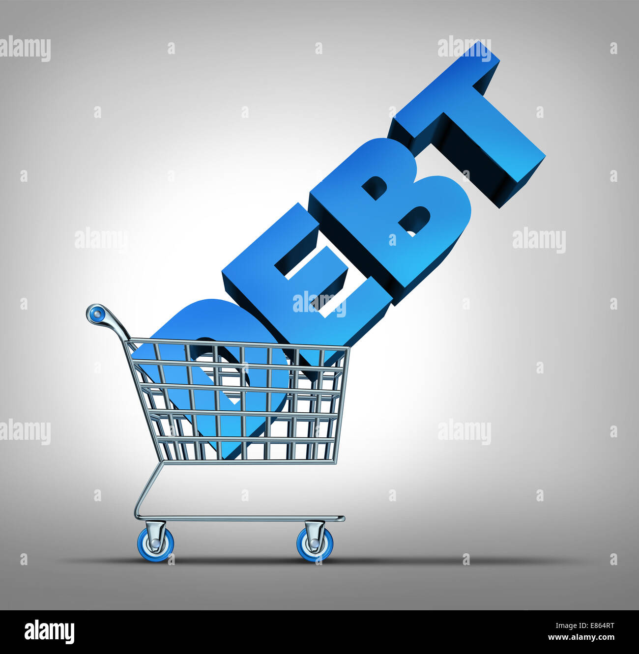 Consumer debt financial concept as a shopping cart dragging a three dimensional text as a credit problem symbol - Stock Image