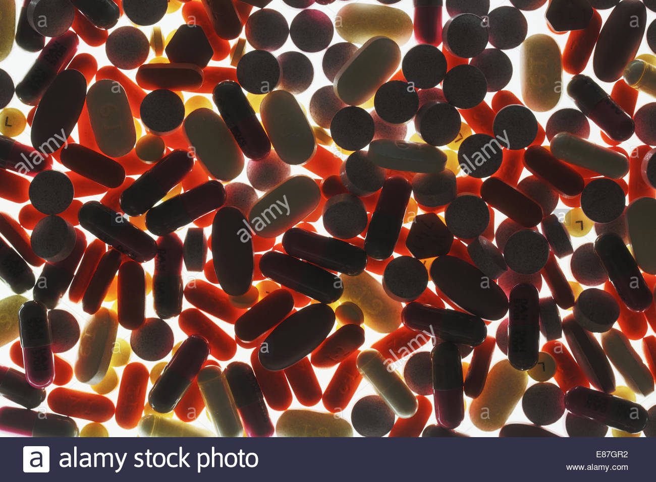 Medical pills of every size and color - Stock Image