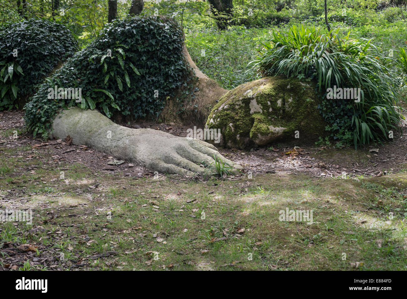 The sleeping Mud Maid was created by local artists Sue Hill and her brother, Pete.The Lost Gardens of Heligan Cornwall - Stock Image