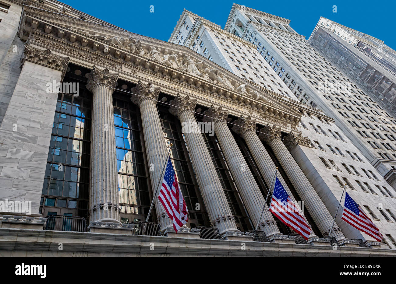 New York Stock Exchange NYSE located in 11 Wall Street in the Financial District of lower Manhattan in New York - Stock Image