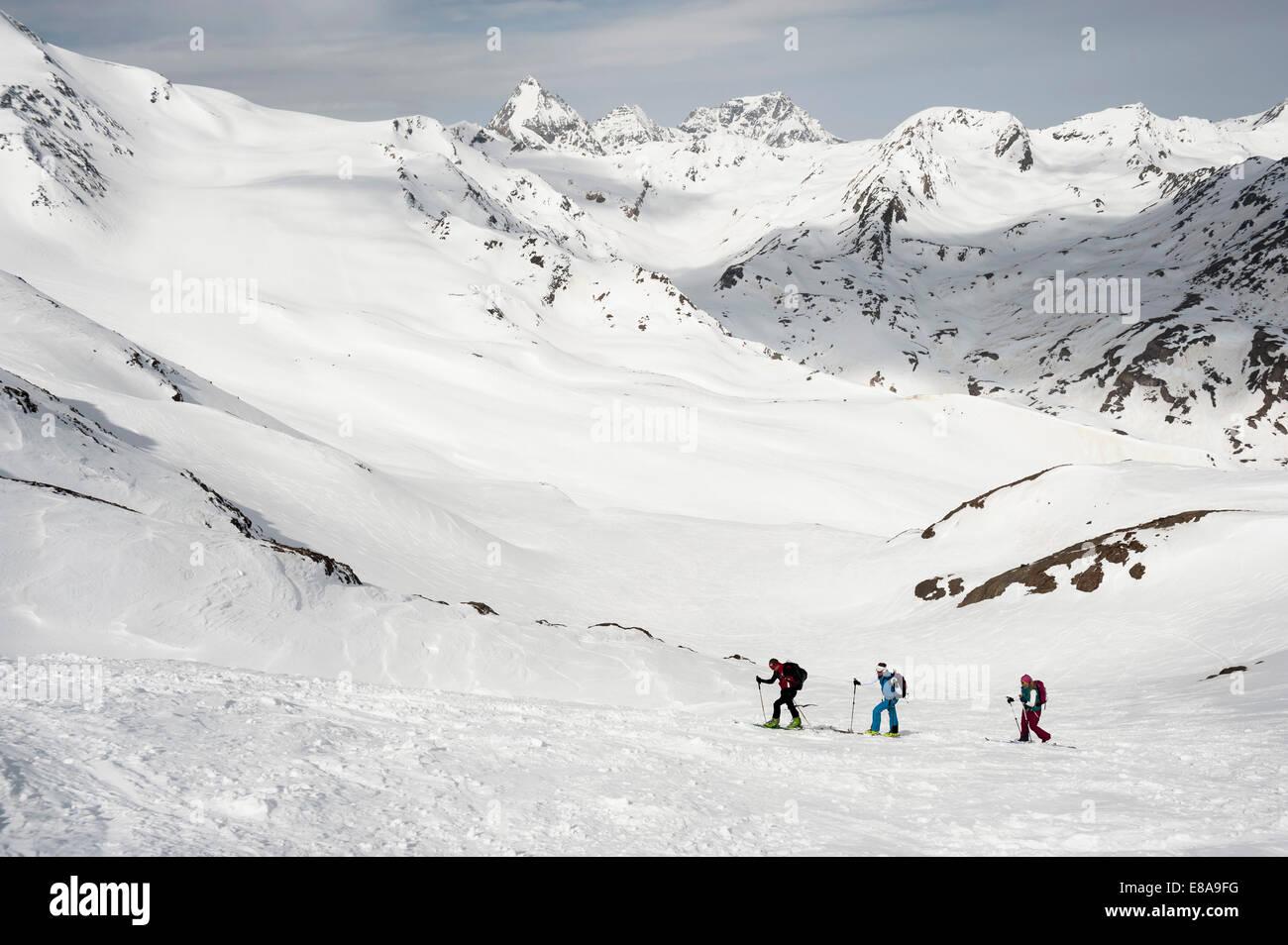 Cross-country ski tour mountain snow winter - Stock Image