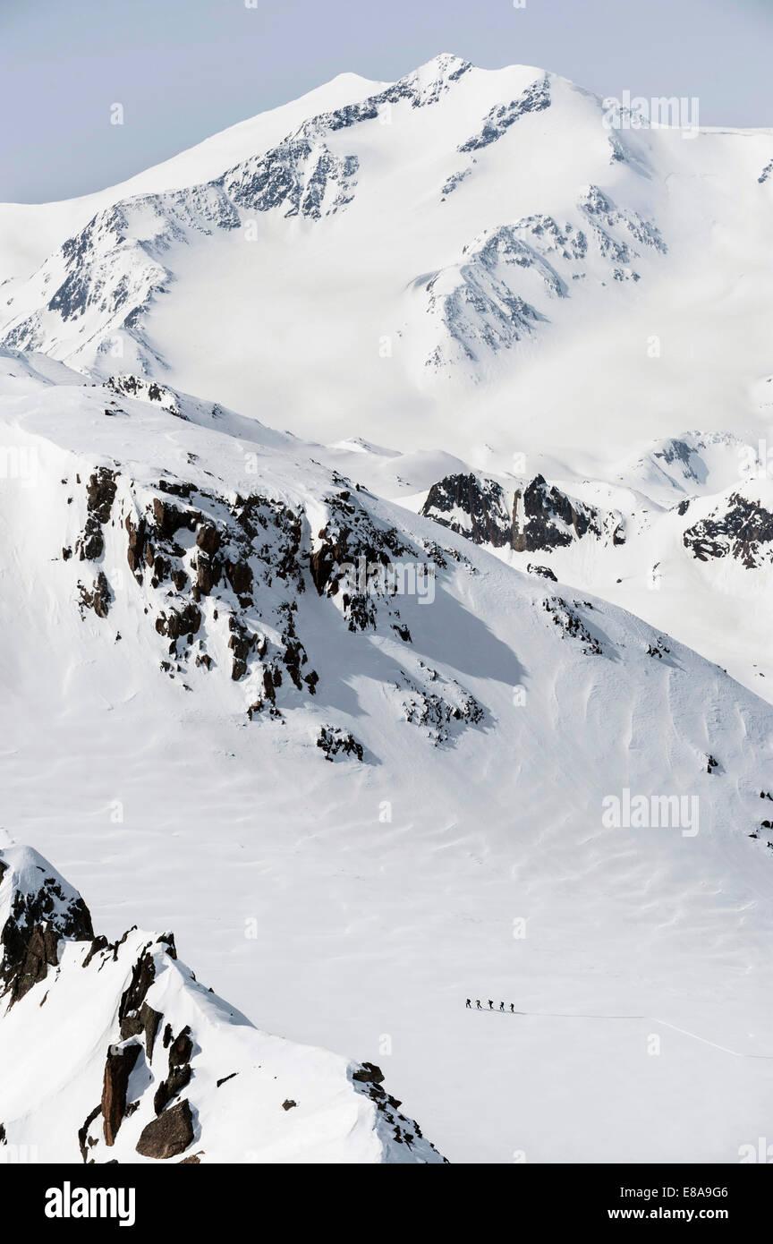 Cross country ski tour mountain snow winter - Stock Image