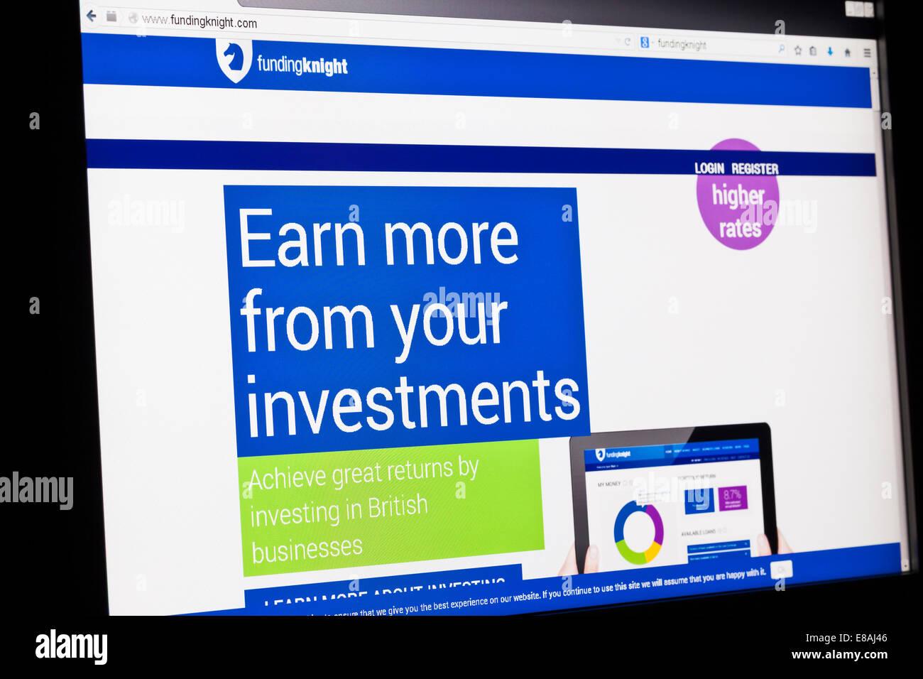 Screenshot of the funding knight homepage - Stock Image