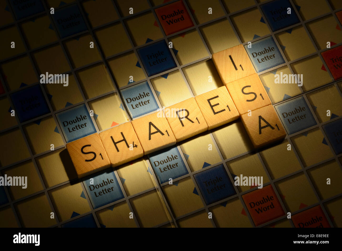 Scrabble board with the words Shares ISAStock Photo