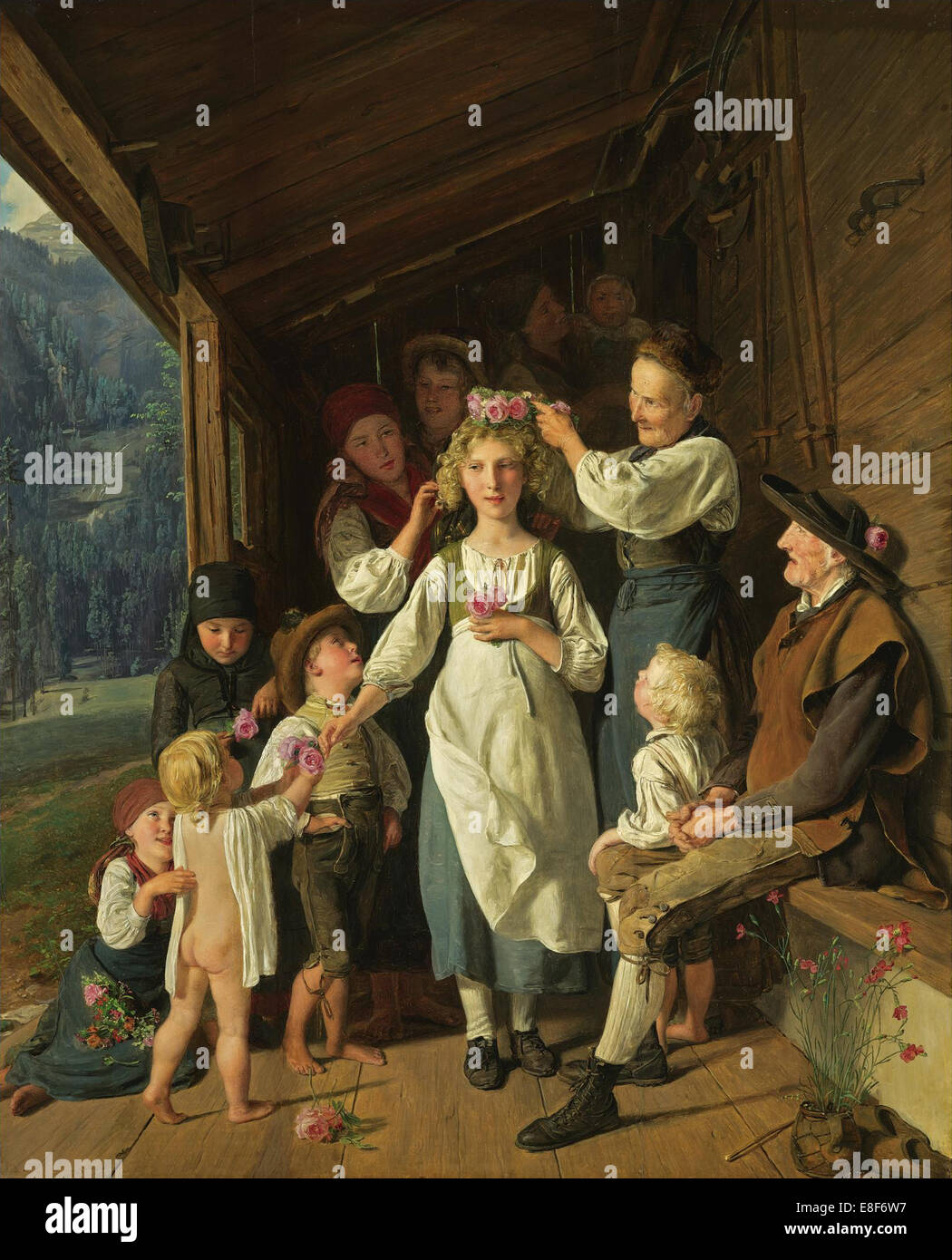 The Bridesmaid. Artist: Waldmüller, Ferdinand Georg (1793-1865) - Stock Image