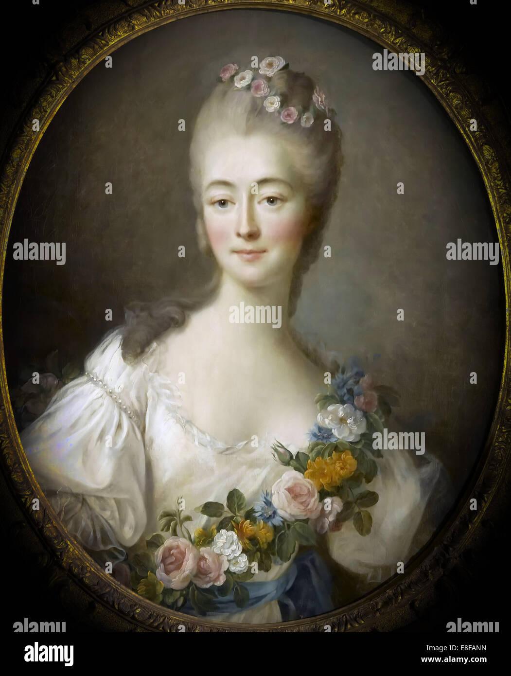 Jeanne Bécu, comtesse Du Barry (1743-1793) as Flora. Artist: Drouais, François-Hubert (1727-1775) - Stock Image