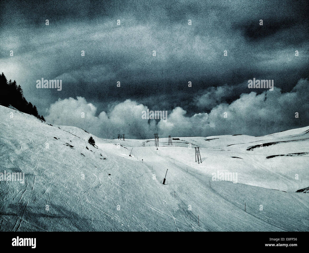 Ski slope in the mountains - Stock Image