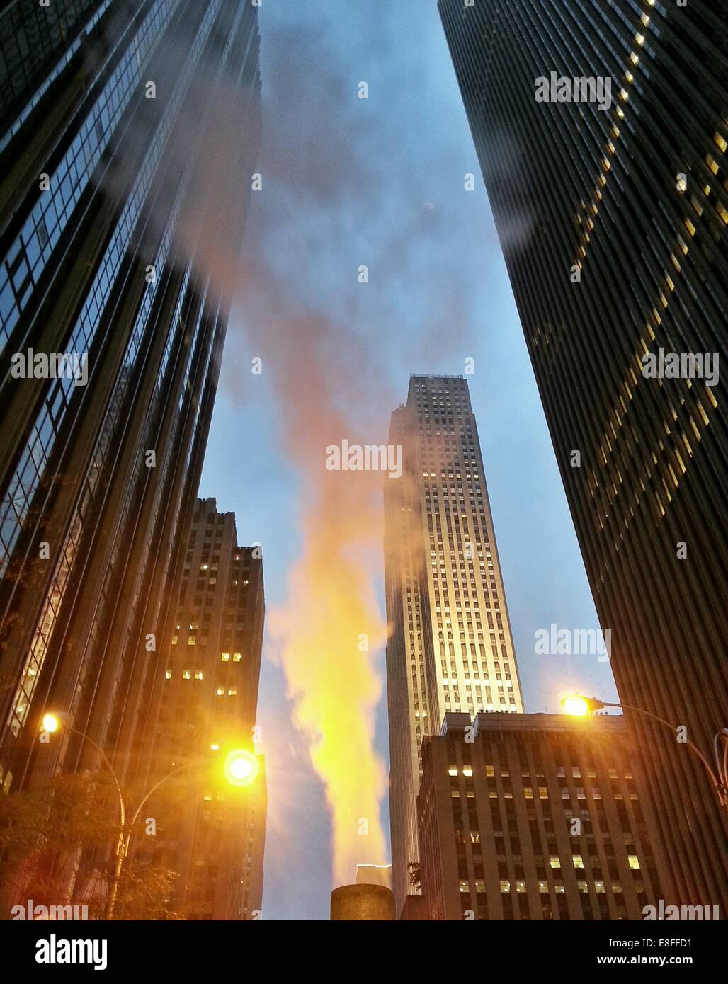 USA, New York State, New York City, Steam rising at Rockefeller Center - Stock Image