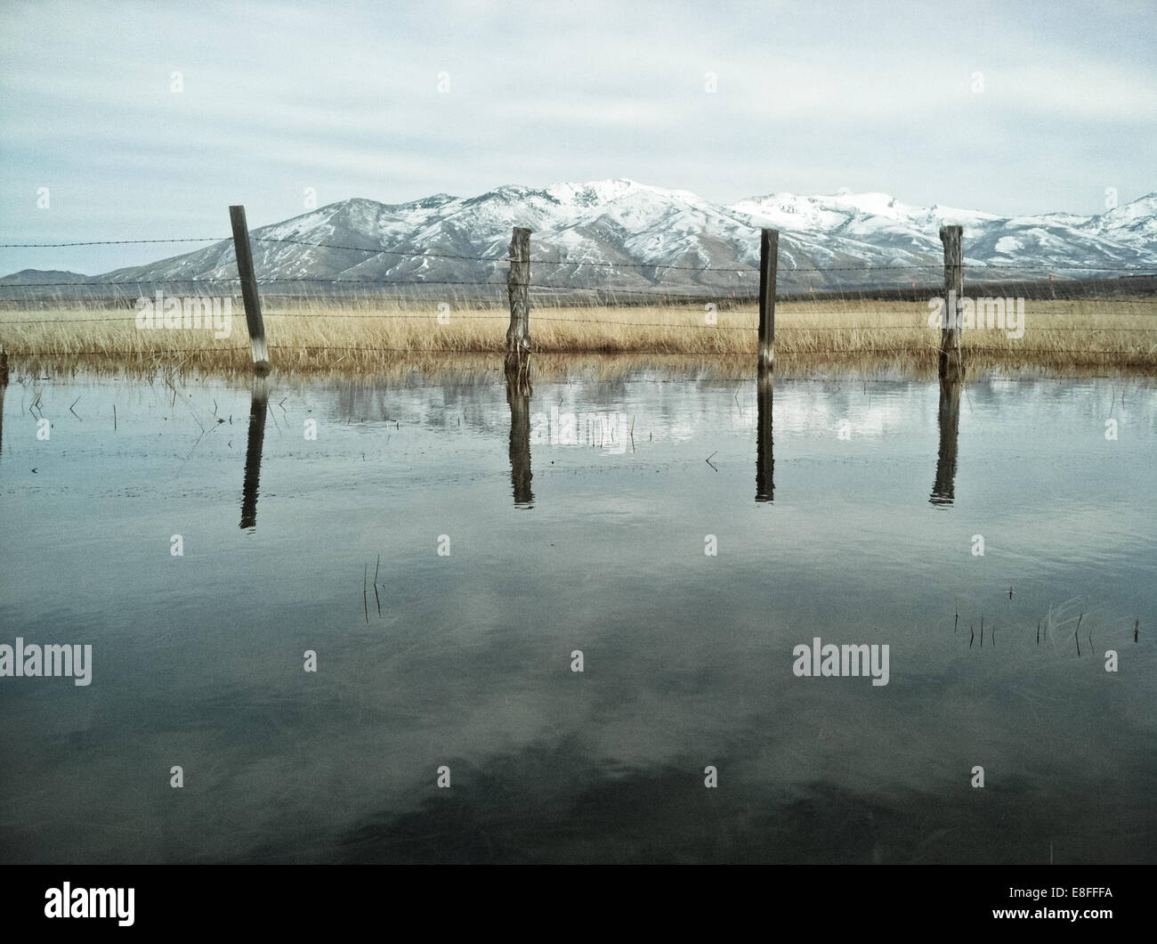 Wire fence reflecting in lake - Stock Image