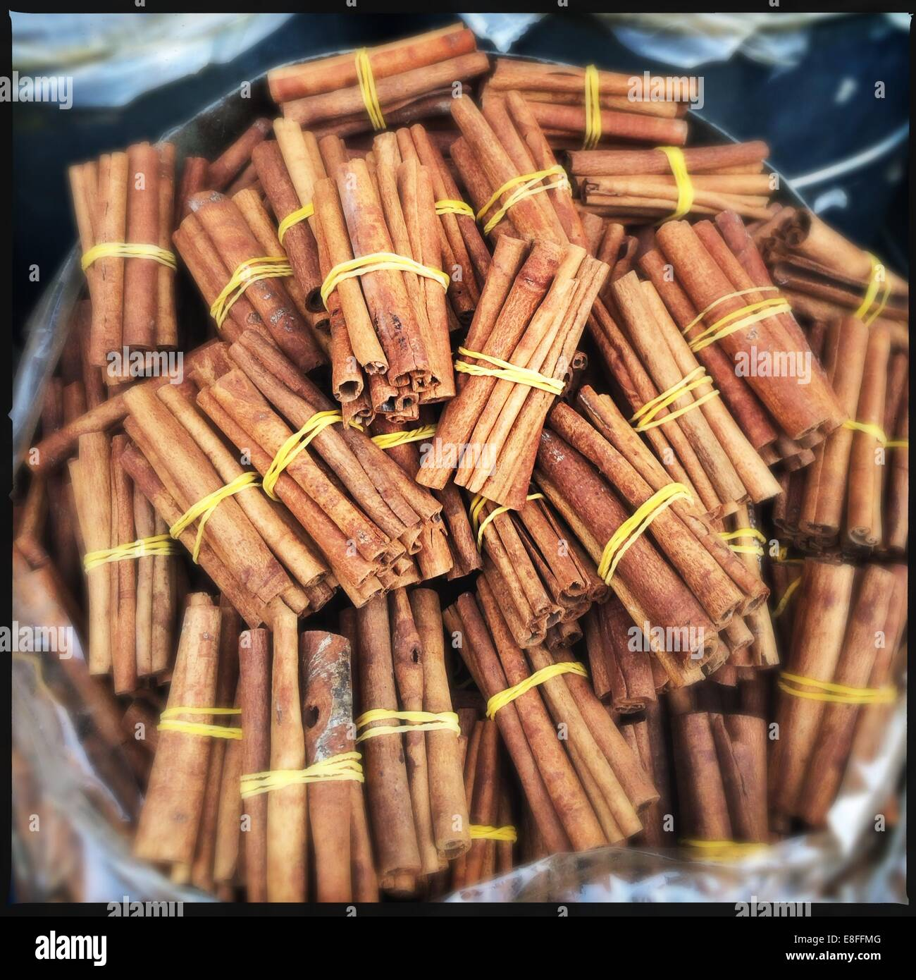 Cinnamon sticks for sale - Stock Image
