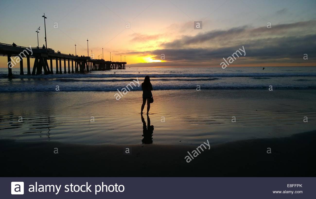 Rear view of woman looking at sunset - Stock Image