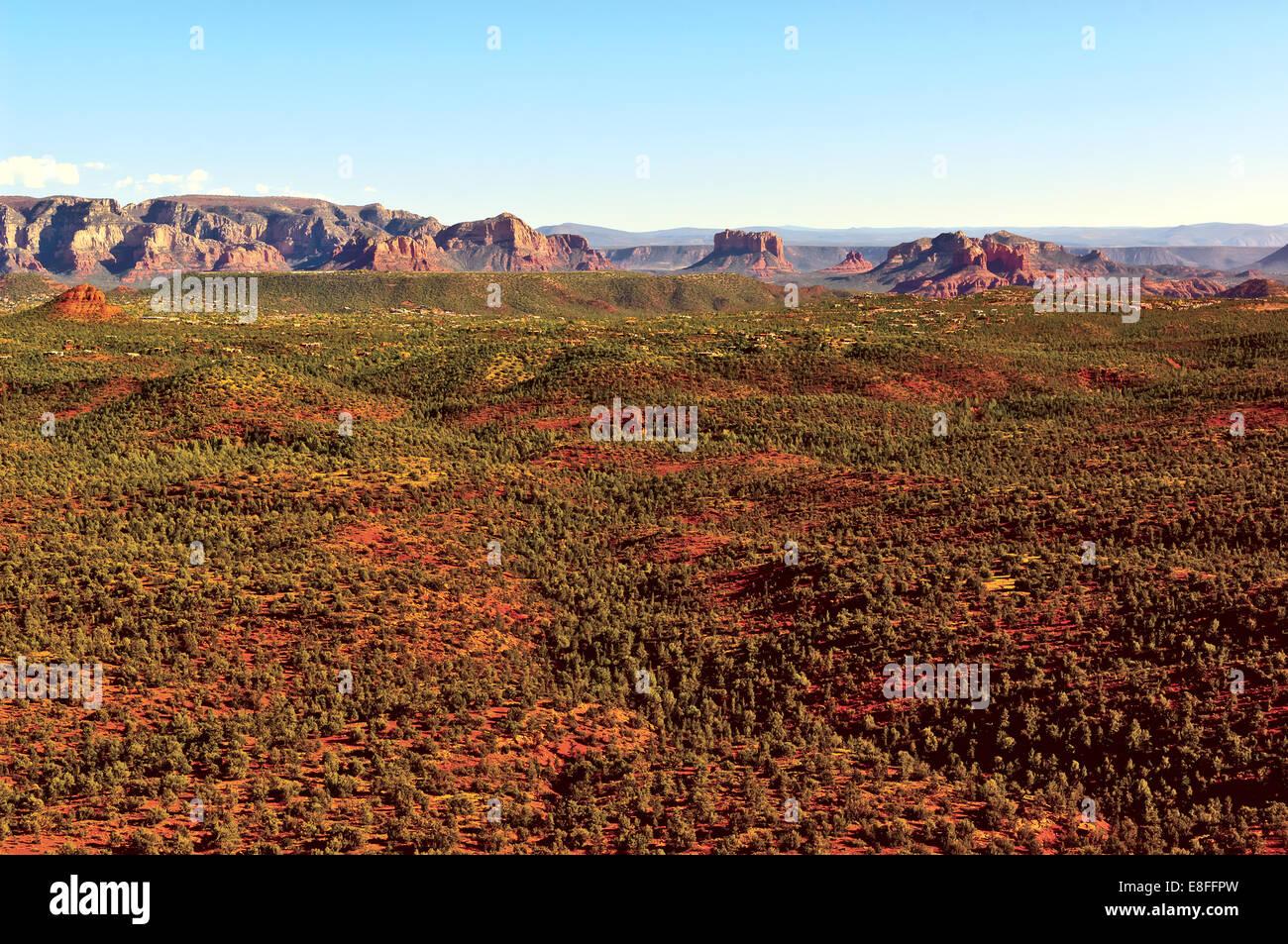 USA, Arizona, Yavapai County,  Sedona, View of Red Rock Valley from Doe Mountain - Stock Image