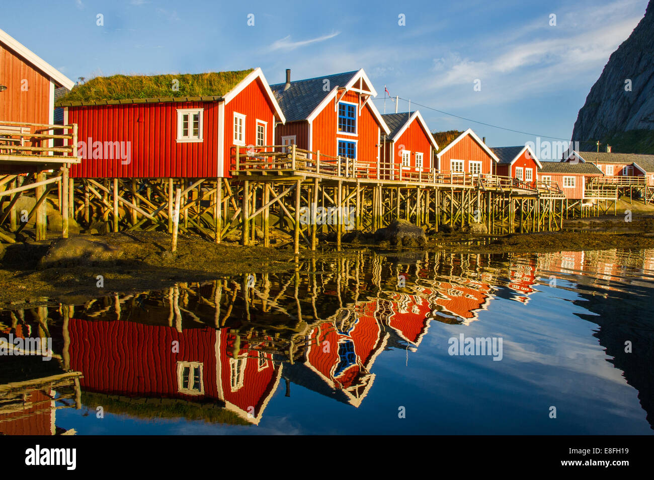 Row of traditional wooden houses, Norway - Stock Image